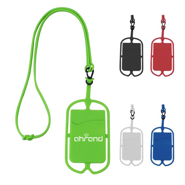 Silicone Phone Wallet with Lanyard - Silicone Phone Wallet with Lanyard
