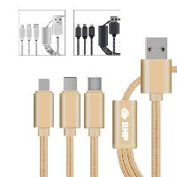 3-in-1 Nylon Braided USB Charging Cable - 3-in-1 Nylon Braided USB Charging Cable
